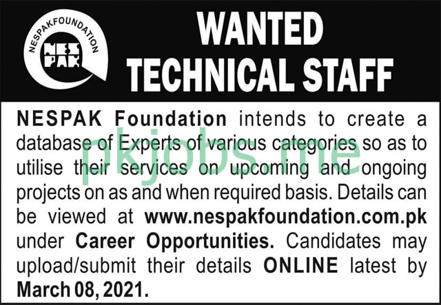 Latest NESPAK Foundation Technician Posts 2021