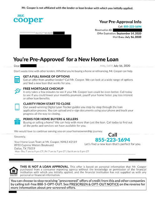 Mr. Cooper home loan offer letter