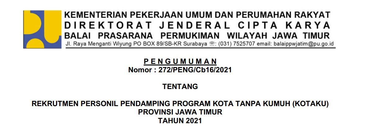Rekrutmen Fasilitator Program Kotaku Provinsi Jawa Timur Tahun 2021