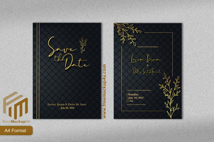 Luxury Wedding Invitation Template With Gold Line Art Flower Black