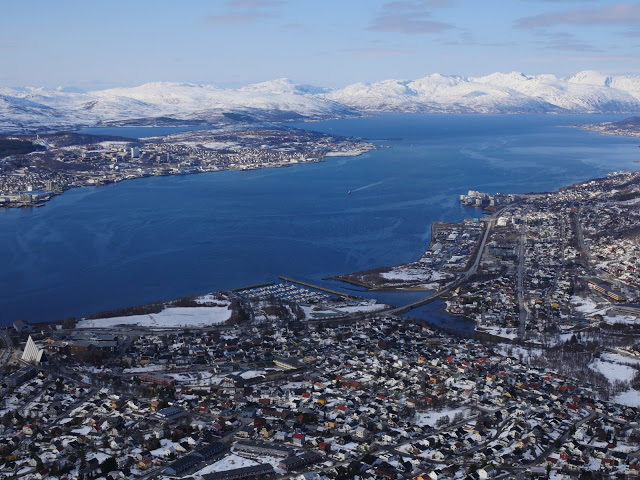 Aerial view of the Norwegian town of Tromsø - Photo by Muir Evenden.