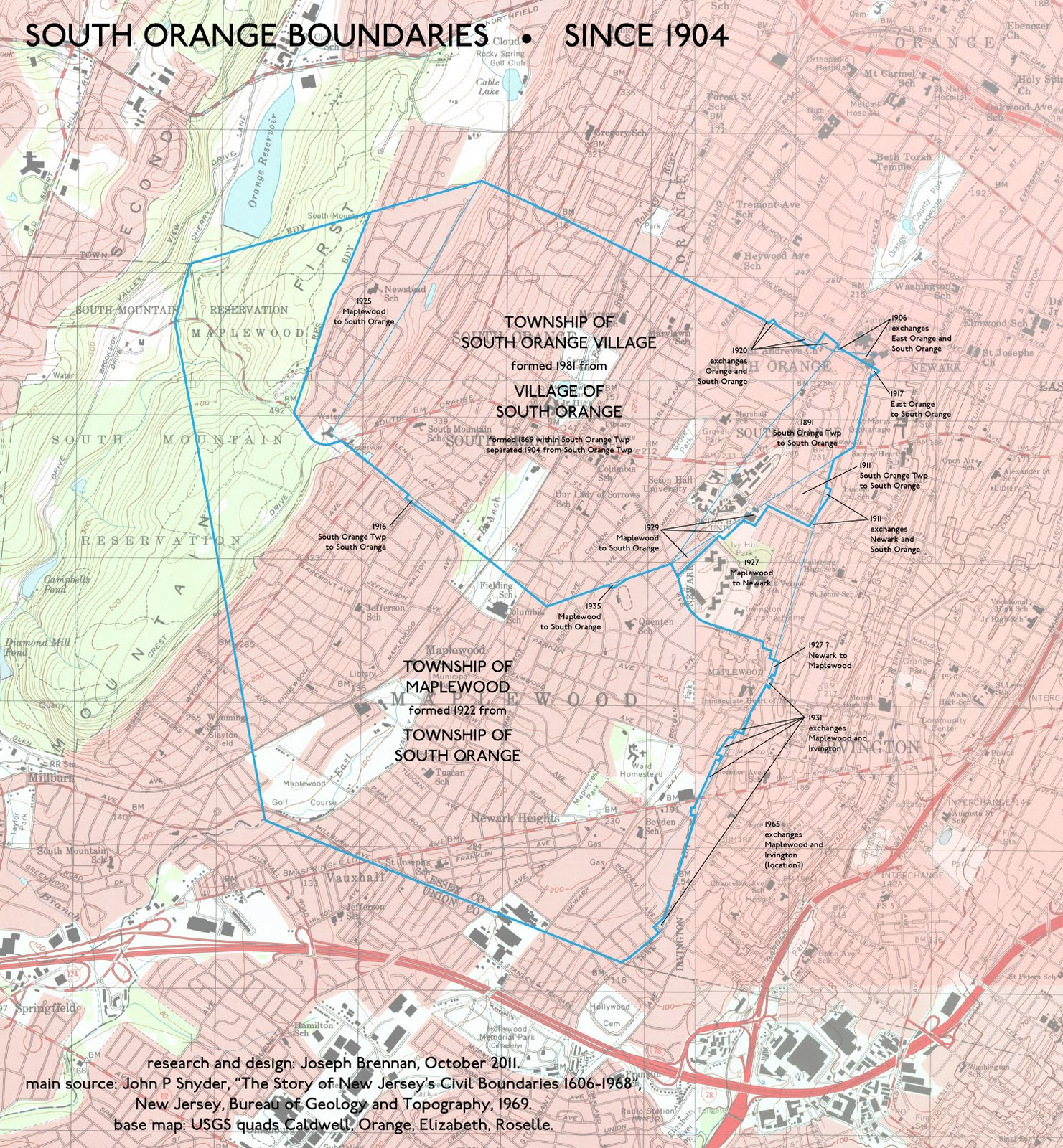 Map Nj Surrounding South Orange Towns And