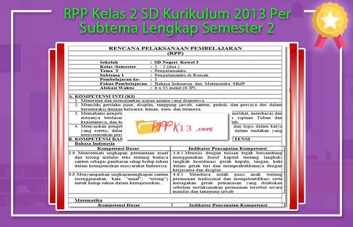 RPP Kelas 2 SD Kurikulum 2013 Per Subtema