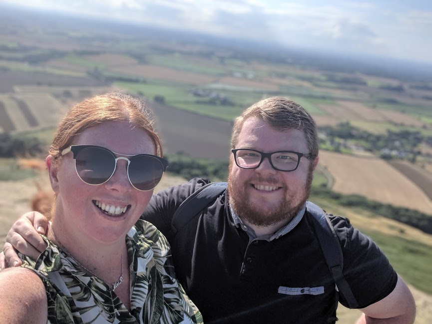 Climbing Roseberry Topping with Kids - selfie at the top