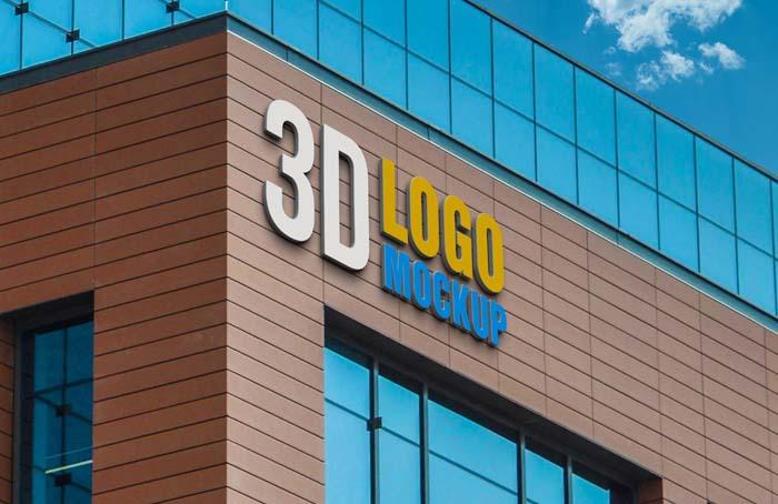 Realistic 3D Building Logo PSD Mockup