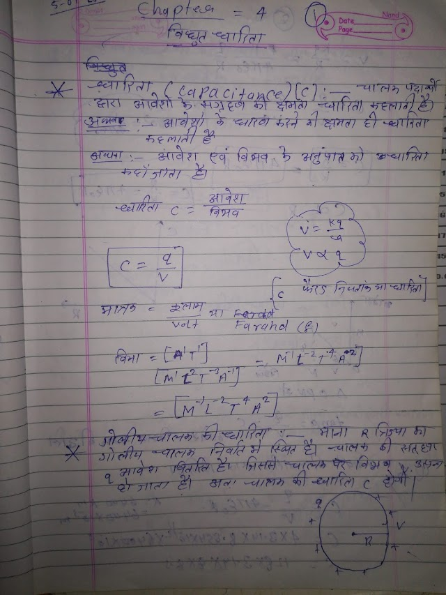 Electrical capacity 12th Physics Notes Pdf  Download विधुत धारिता chapter 4