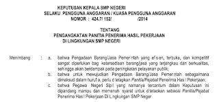 SK Pengangkatan Panitia Penerima  Hasil Pekerjaan (PPHP)