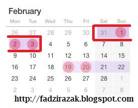 Cuti hujung minggu panjang 31 Jan - 3 Feb 2015