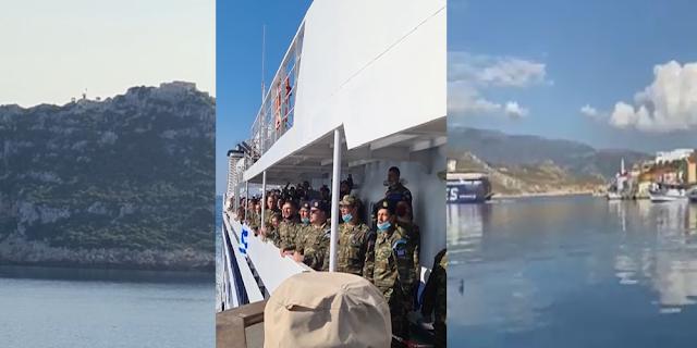 Έλληνες στρατιώτες τραγουδούν περήφανοι τον Εθνικό Ύμνο φτάνοντας στο Καστελόριζο όπου θα υπηρετήσουν (BINTEO)