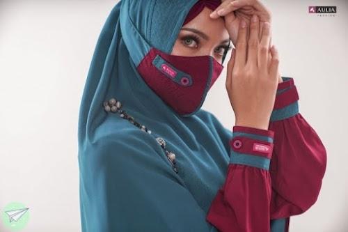 masker hijab aulia gauri maroon