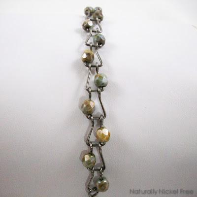 Niobium Bracelet with Green Jasper Beads Nickel Free Jewelry