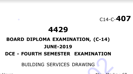Diploma Previous Question Paper c14 Building Services Drawing June 2019