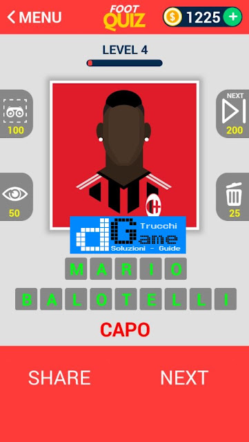 FootQuiz Calcio Quiz Football ( VISO) soluzione livello 1-10