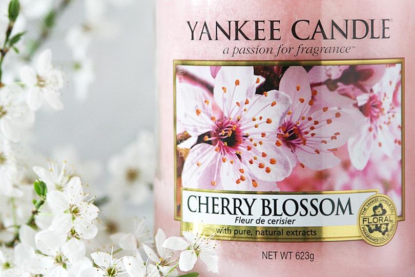 etykieta świecy yankee candle cherry blossom