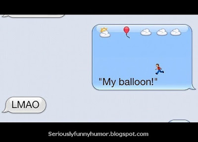 MY Balloon! LMAO Smartphone Emoticons funny boy chasing balloon going in clouds