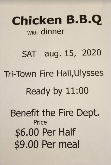 8-15 Tri-Town Firehall Chicken Dinner