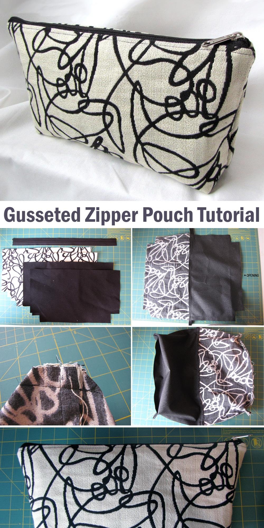Gusseted Zipper Pouch Tutorial & Pattern