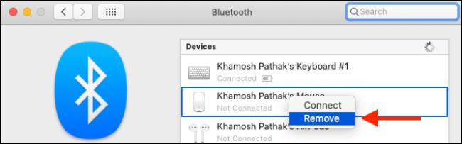 قم بإزالة جهاز Bluetooth من Mac