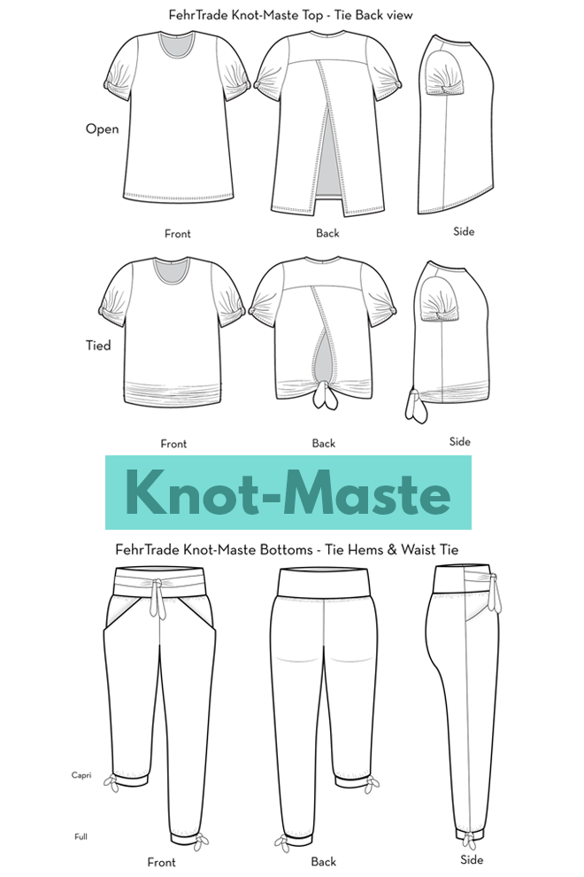 The Knot-Maste yoga sewing pattern from Fehr Trade features a tie-back top and bottoms with ties.