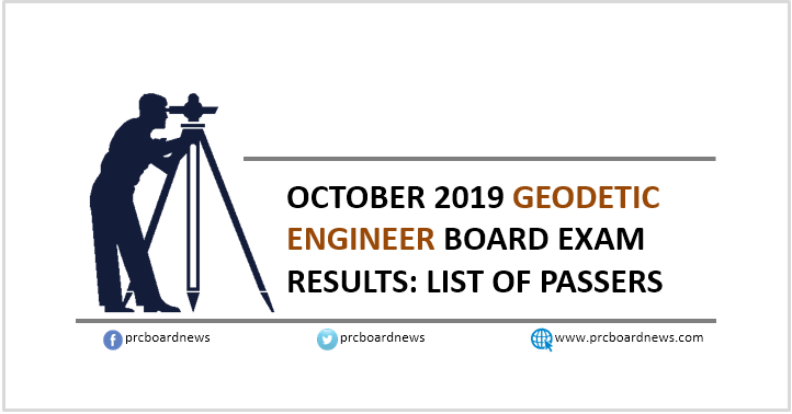 RESULT: October 2019 Geodetic Engineer board exam list of passers