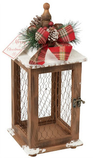wood lantern with chicken wire