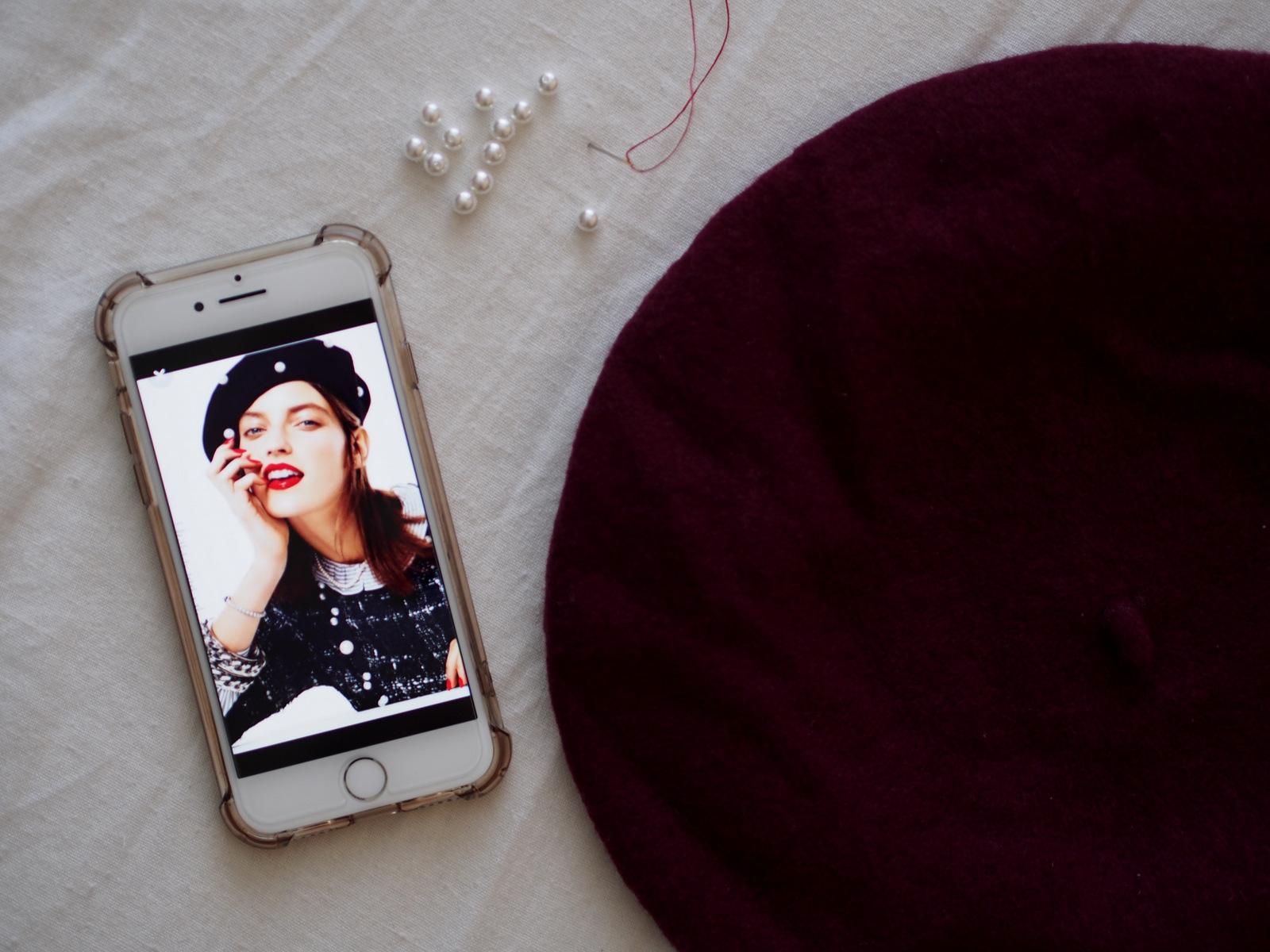 DIY: vyrobte si aktuálny módny trend baretku s perlami // fashion trend AW 17/18 pearl beret