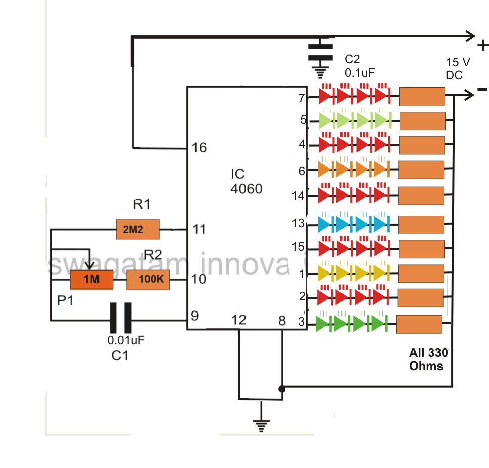 The figure shows rather simple wiring where the ic itself acts as an oscillator as well as the led driver