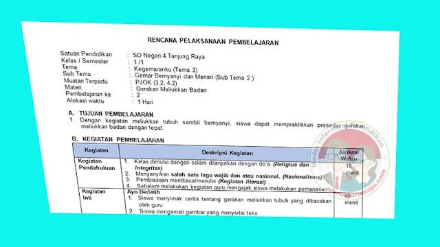 RPP PJOK 1 Lembar Kelas 1 Tema 2 K13 Revisi