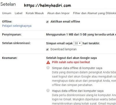Membaca email secara offline