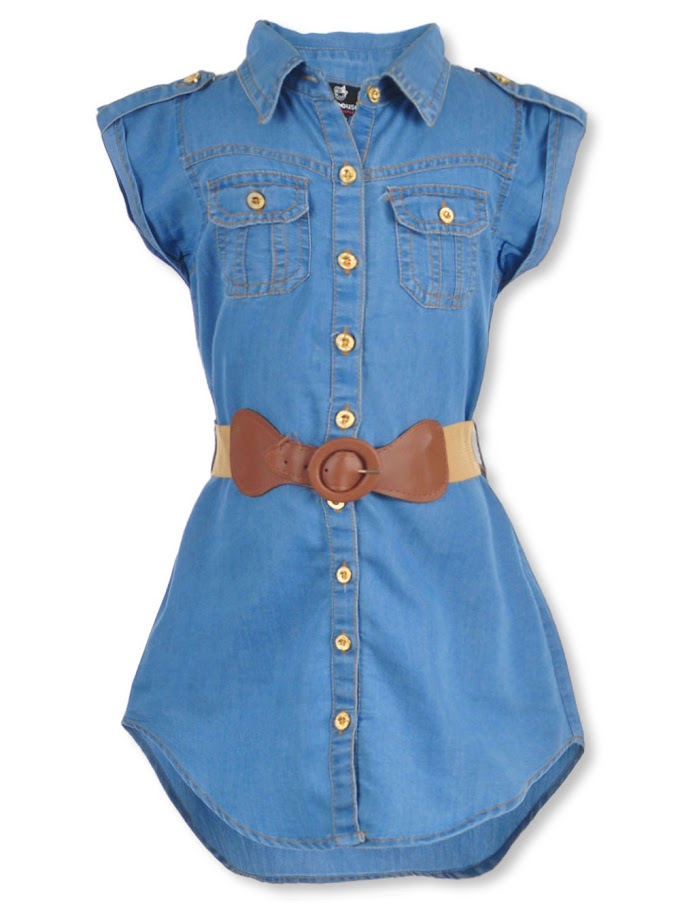 COOKIESKIDS - DOLLHOUSE GIRLS' BELTED BUTTON-DOWN DRESS $12.99