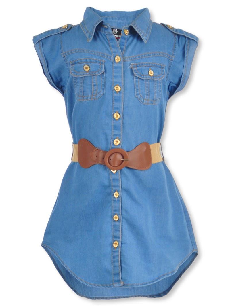 COOKIESKIDS - DOLLHOUSE GIRLS' BELTED BUTTON-DOWN DRESS $12.99