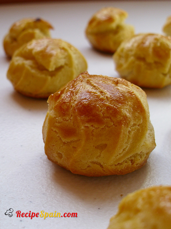 Delicious profiteroles filled with coffee cream
