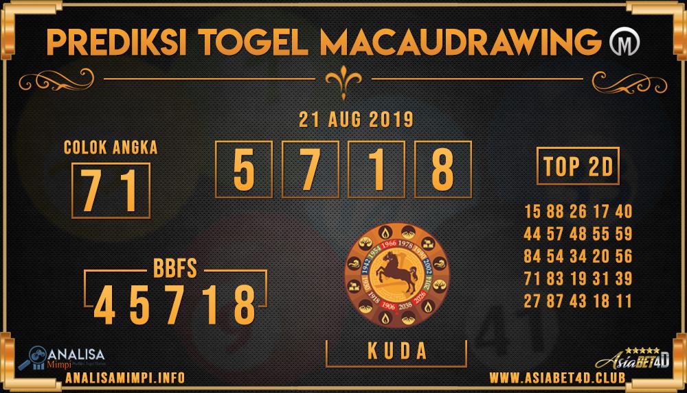 PREDIKSI TOGEL MACAU DRAWING ASIABET4D 21 AUG 2019