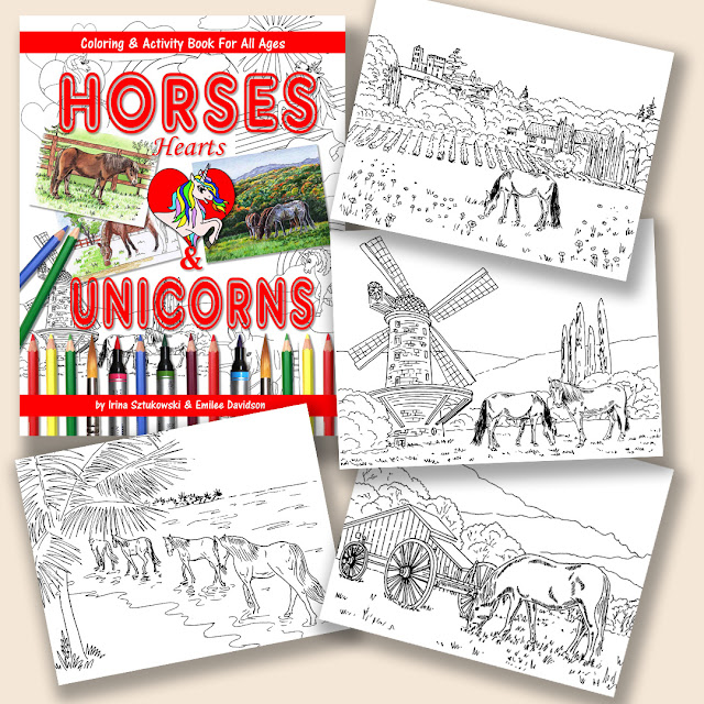 Horses Hearts And Unicorns Coloring Book Pages artist Irina Sztukowski