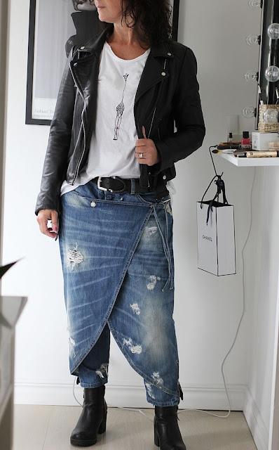annelies design, webbutik, webbutiker, webshop, nätbutik, nätbutiker, sixty days, giraff, t-shirt, tischa, tshirt, långärmat, vit, vitt, byxkjol, kjol, byxor, jeans, jeansbyxor,