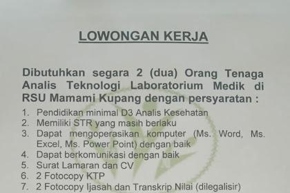 Lowongan Kerja RSU Mamami Kupang
