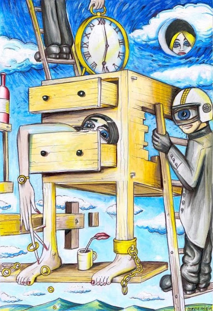 A person on a ladder climbing over a chest of draws trying to reach the time.