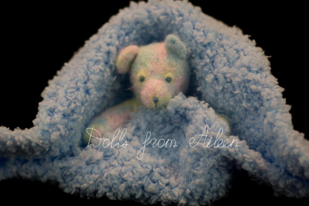 OOAK needle felted rainbow teddy bear