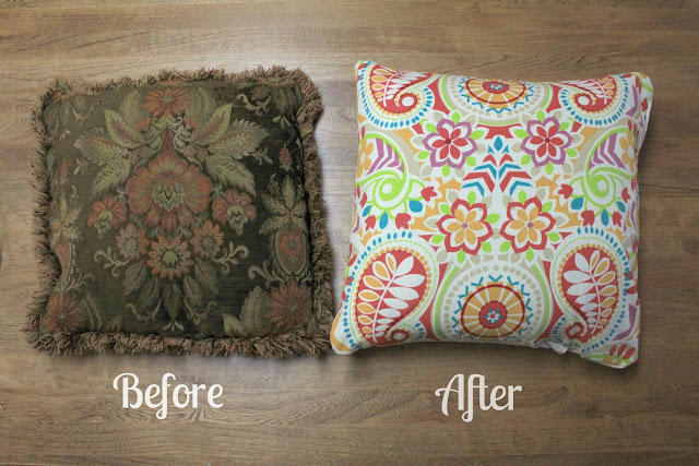 kingsley corner from trash to treasure how to sew easy removable throw pillow covers. Black Bedroom Furniture Sets. Home Design Ideas