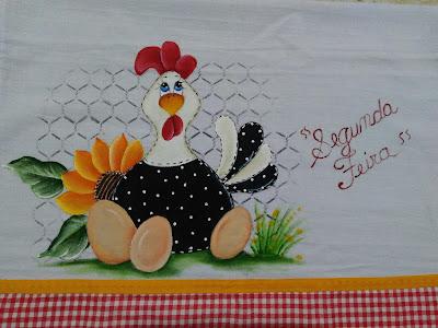 pintura em tecido galinha com ovos