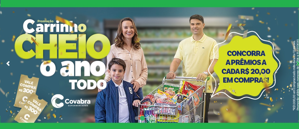 Promoção Covabra Carrinho Cheio O Ano Todo 1 Ano Compras Grátis 2020-2021 - Cadastro