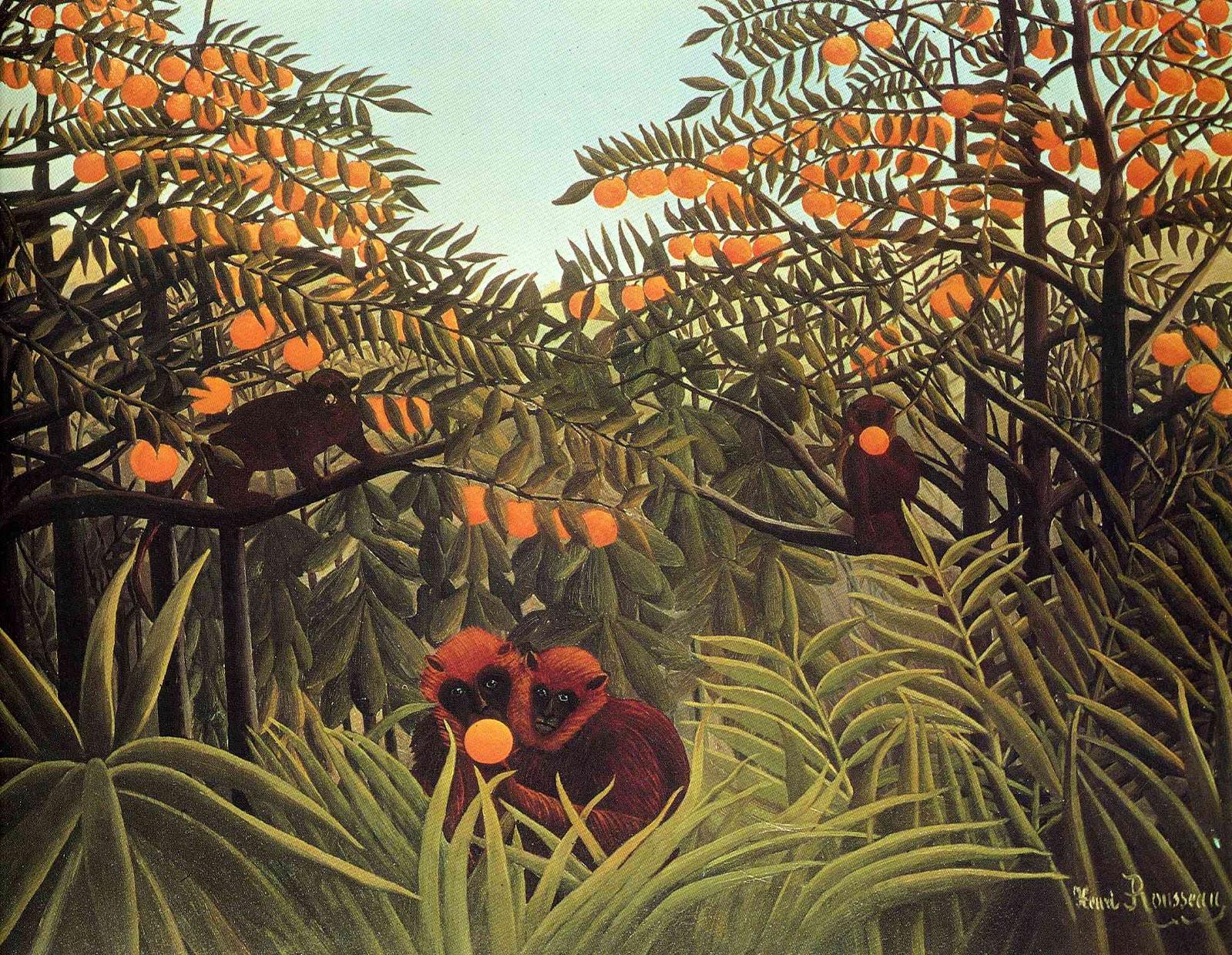 アンリ・ルソーのオレンジの茂みの猿