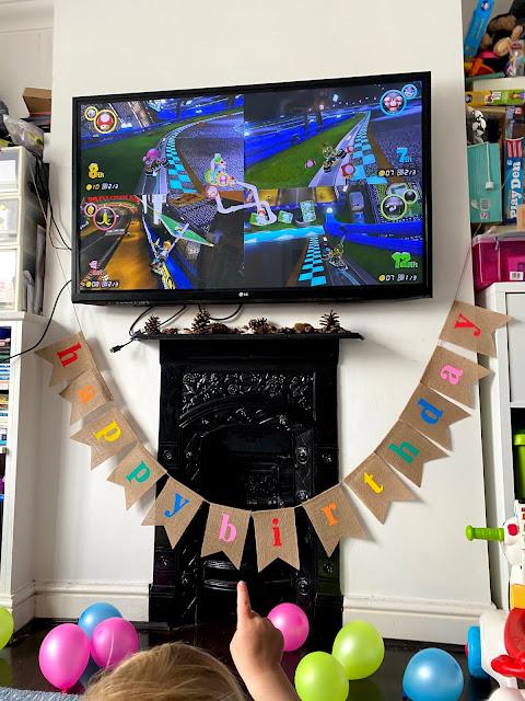 Playing Mario Kart with my 3 children on my birthday