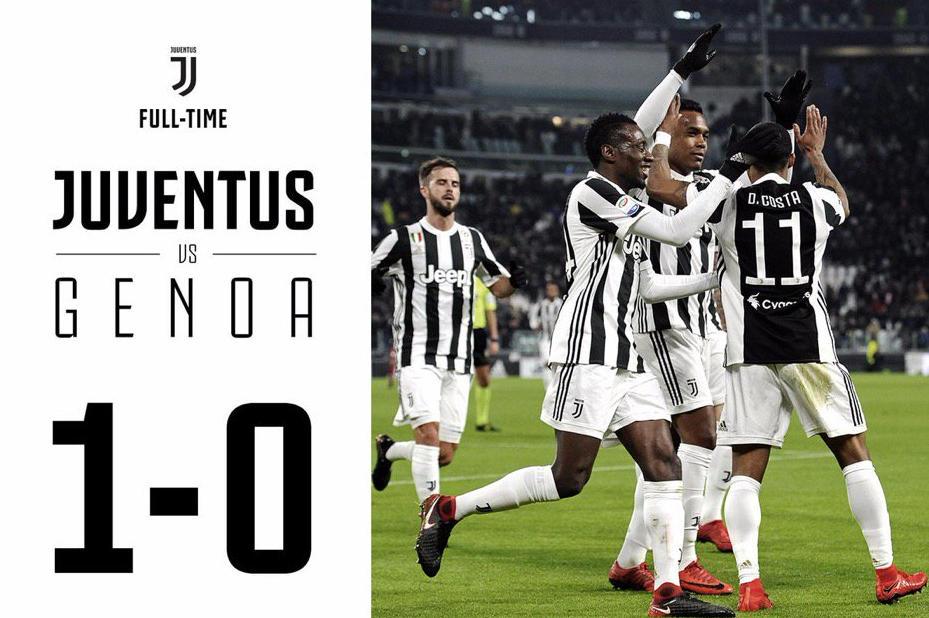 La Juventus torna a un punto dal Napoli in classifica: 1-0 al Genoa con gol di Douglas Costa