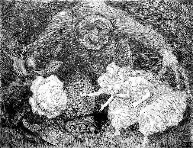 an Erik Werenskiold illustration of a witch tricking girls into a bag