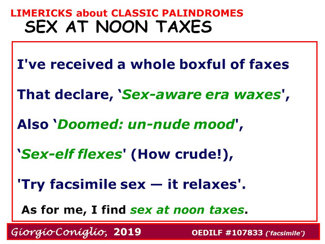 limerick; wordplay; palindromes; classic phrases; Giorgio Coniglio
