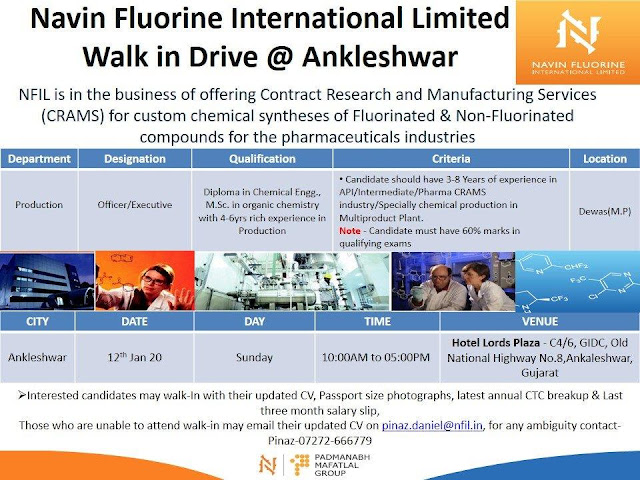 Navin Fluorine International walk-in interview for Production department on 12th Jan' 2020