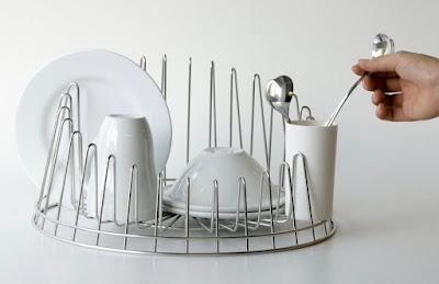 a round asymetrical dish rack
