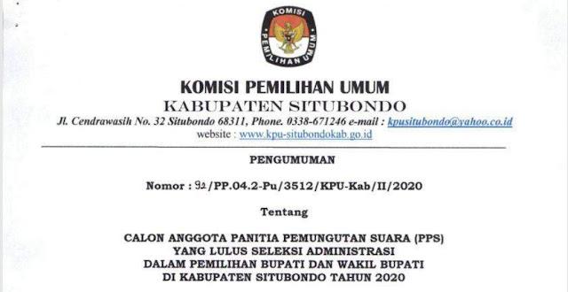 Hasil seleksi Administrasi PPS Tahun 2020 Kabupaten Situbondo