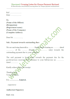 cover letter for cheque payment sample